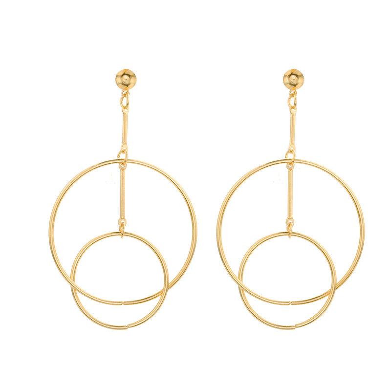 Fashion Ear Drop Earrings Hollow Double Circle Combination Hoop Dangle Earrings Jewelry For Women