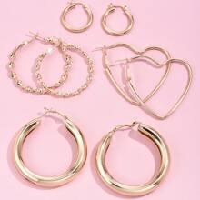 4pairs Heart Hoop Earrings