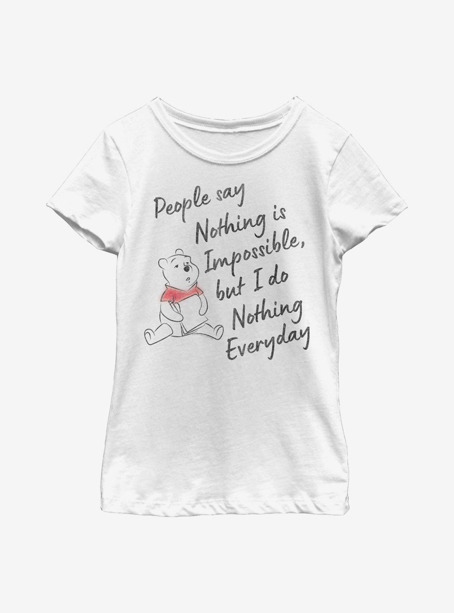 Disney Winnie The Pooh Nothing Is Impossible Youth Girls T-Shirt
