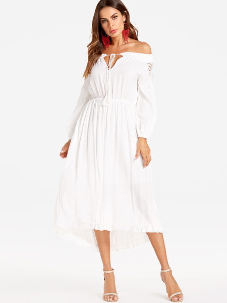 Yoins White Lace Insert  Hollow Out Off Shoulder Party Dresses
