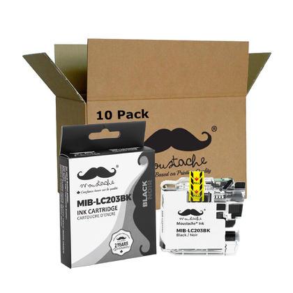 Compatible Brother LC203BK - LC203 noire cartouche encre de Moustache, 10 Paquet - haut rendement