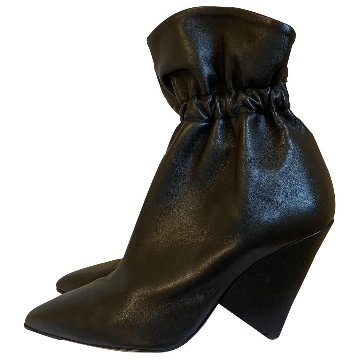 Isabel Marant Lileas Black Fur Ankle boots for Women 40 EU