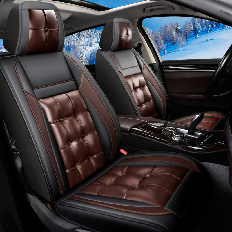 Full Coverage Soft Wear-Resistant Durable Skin-Friendly Man-Made PU Leather Airbag Compatible 5-Seater Universal Fit Seat Covers
