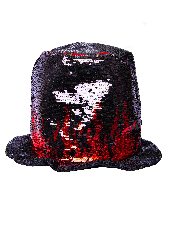 Kostuemzubehor Zylinder Pailletten schwarz mit roter Flamme