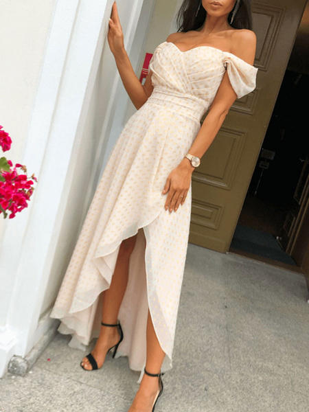 Milanoo Vestidos largos de mujer Vestido largo dividido de lunares con hombros descubiertos y mangas cortas albaricoque
