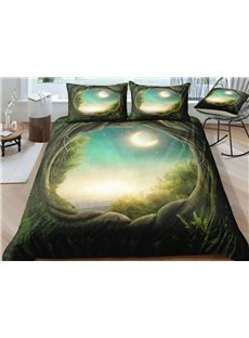 Moon and Lake Printed 3-Piece 3D Tree Bedding Sets/ Duvet Covers