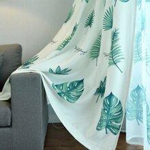 Leaf Print Single Panel Curtain
