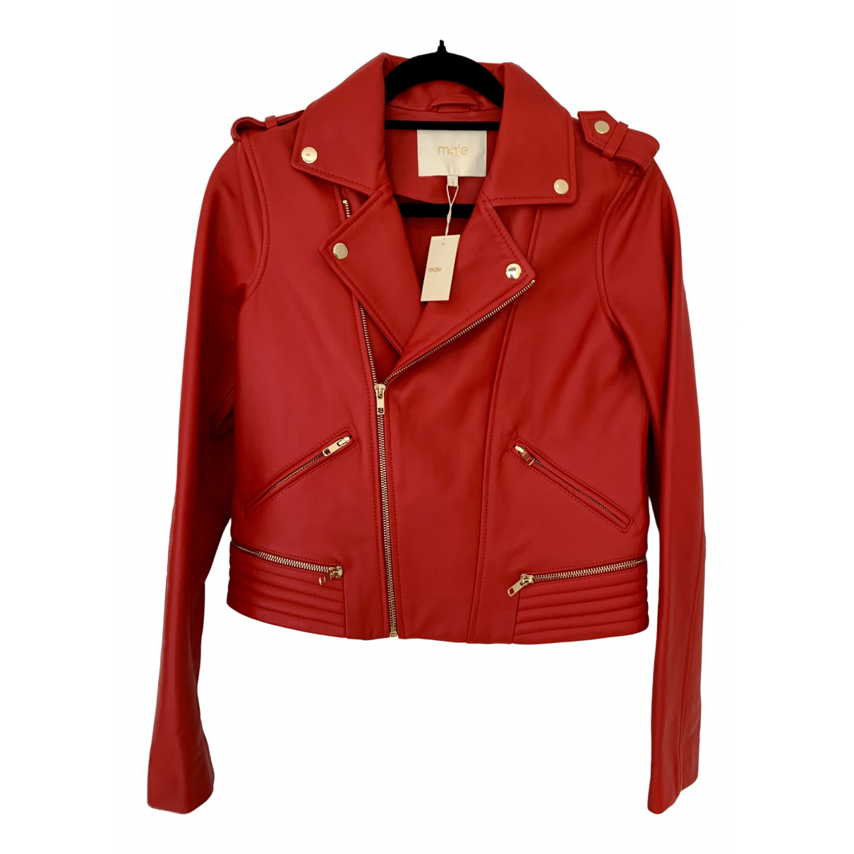 Maje N Red Leather Leather jacket for Women 40 FR