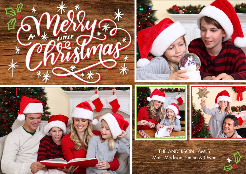 Christmas Photo Cards 5x7 Cards, Standard Cardstock 85lb, Card & Stationery -Christmas Woodgrain Collage by Tumbalina