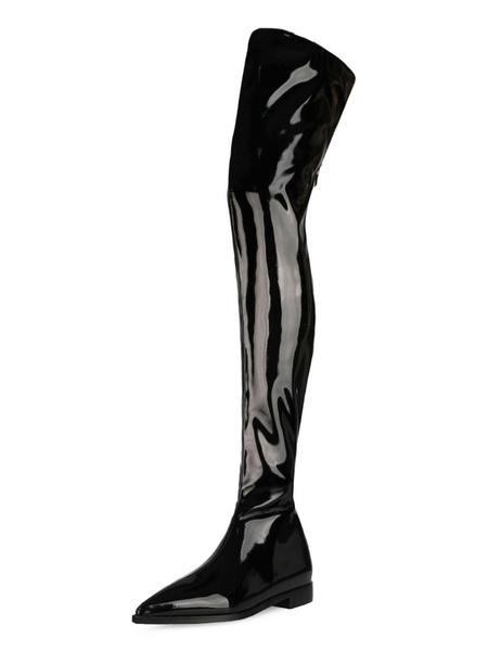 Milanoo Botas sobre la rodilla Mujeres PU Negro punta estrecha plana de alta del muslo botas