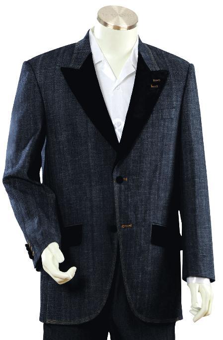 2 Button Navy Denim Fabric Zoot Suit Mens