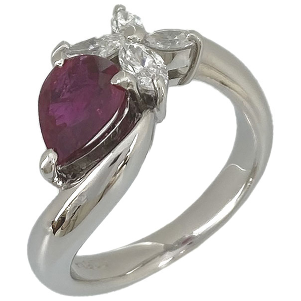 Non Signé / Unsigned N Red Platinum ring for Women 48 EU