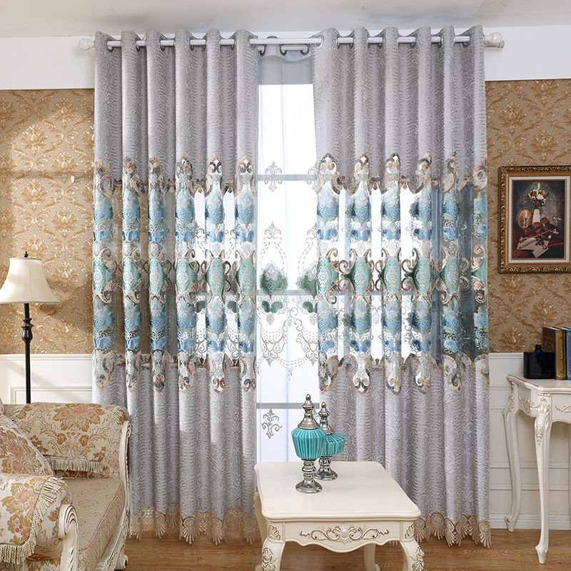 European Style Good Quality Chenille Embroidered Grommet Curtains for Living Room Bedroom