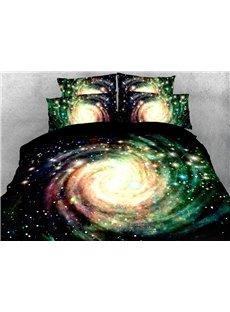 Green Galaxy 3D Warm Comforter Soft Lightweight 5-Piece Comforter Sets