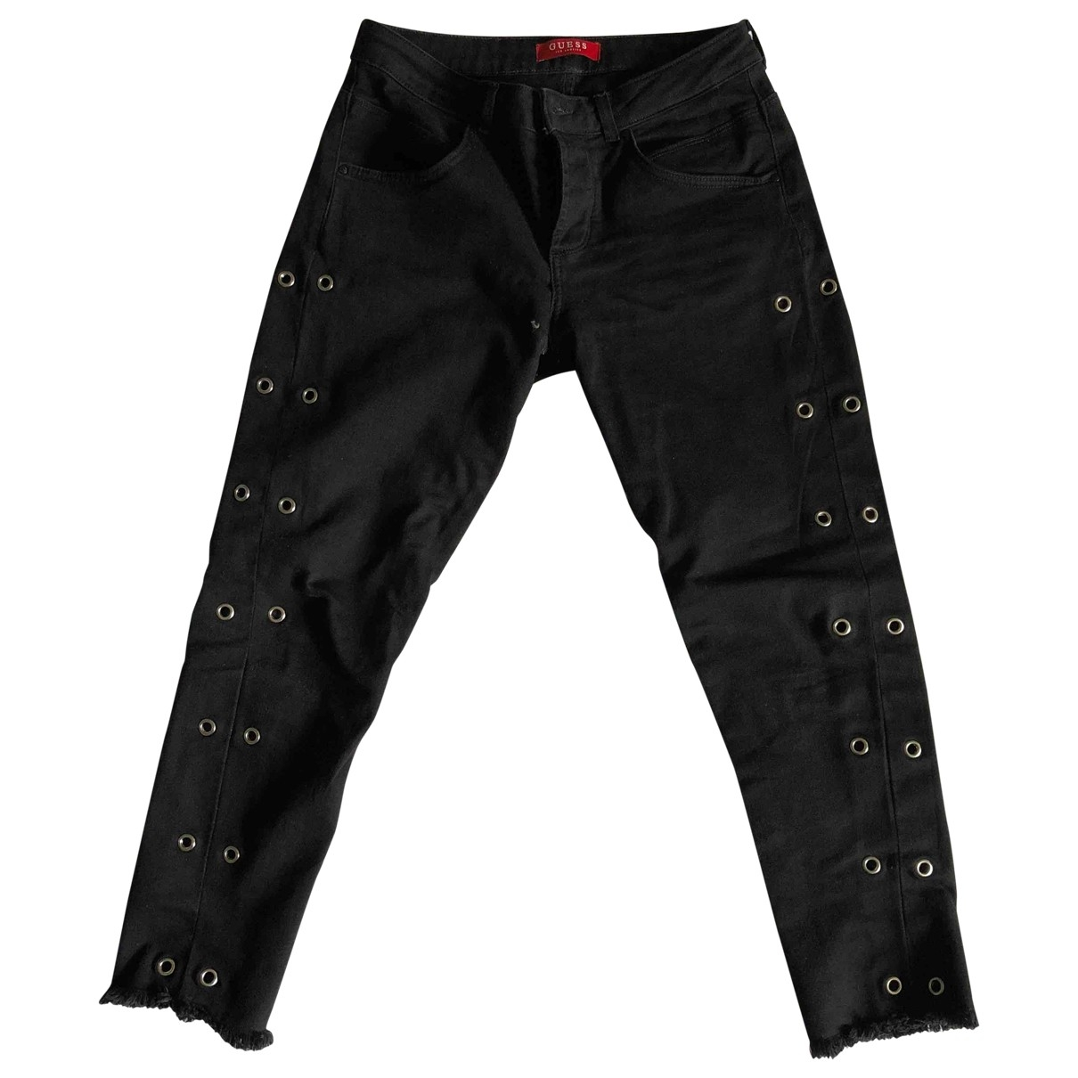 Guess \N Black Cotton Trousers for Women 38 FR