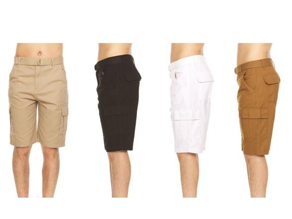 Men's Belted Cargo Pocket Shorts