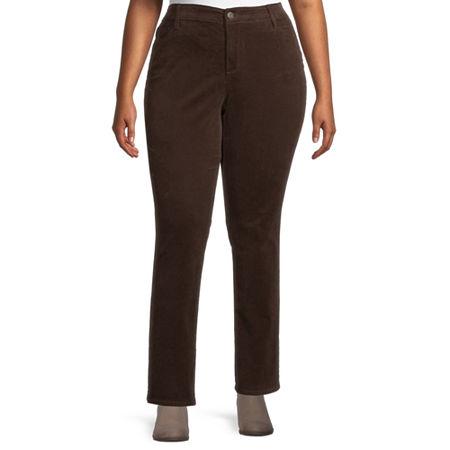 St. John's Bay Womens Mid Rise Straight Corduroy Pant - Plus, 16w , Brown
