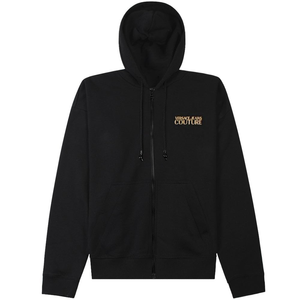 Versace Jeans Couture Reverse Logo Print Hoodie Colour: BLACK, Size: EXTRA LARGE