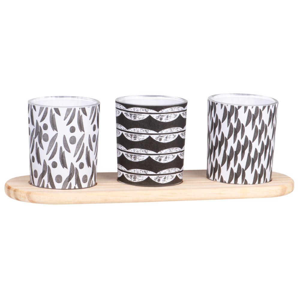 Duftkerzen im Glasgefaess mit Motiven in Schwarz, Weiss und Grau (x3)