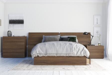 402520 Distance 4 Piece Full Size Bedroom Set with Storage Platform Bed + Headboard + Nightstand + Chest  in Walnut