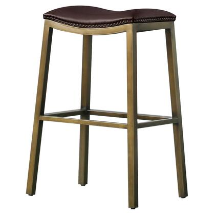 3900051-01 Elmo Collection 22 Bar Stool with Saddle Stool  Nail Head Accents  Bonded Leathered  Painted Steel Frame and Foot Rest  in