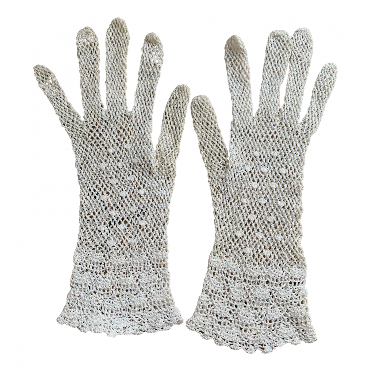 Non Signe / Unsigned Crochet Handschuhe in  Weiss Baumwolle