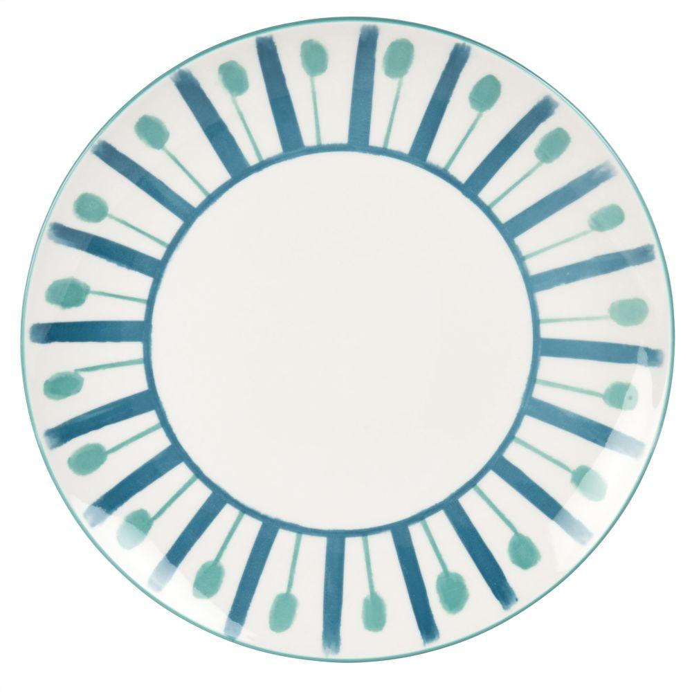 Flacher Porzellanteller, weiss mit blauen Motiven