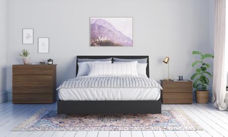 402584 Transit 4 Piece Queen Size Bedroom Set with Platform Bed + Headboard + Nightstand + Chest  in Walnut Laminate  Black Melamine And Black