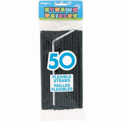 Disposable Plastic Drinking Flexible Bend Straws for Beverage, 50Pcs - Black