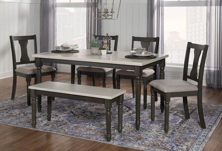 D1251D19G Willow 6 PC Dining Set with 4x Dining Room Tables + 1x Dining Room Table + 1x Bench in