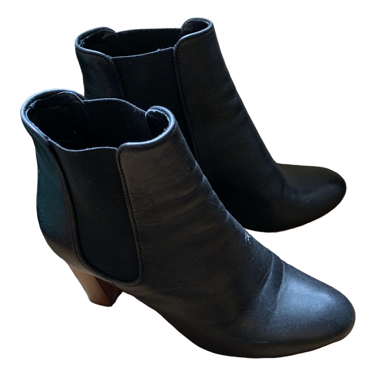 Non Signé / Unsigned \N Navy Leather Ankle boots for Women 37 EU