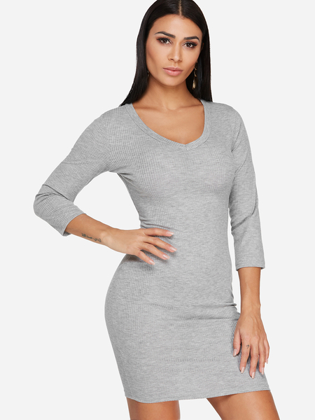 Yoins Grey Plain V-neck 3/4 Length Sleeves Bodycon Hem Dress