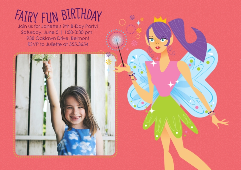 Kids Birthday Party Invites 5x7 Cards, Standard Cardstock 85lb, Card & Stationery -Fairy Fun Birthday