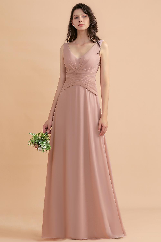 BMbridal V-Neck Dusty Rose Chiffon Bridesmaid Dress with Ruffles