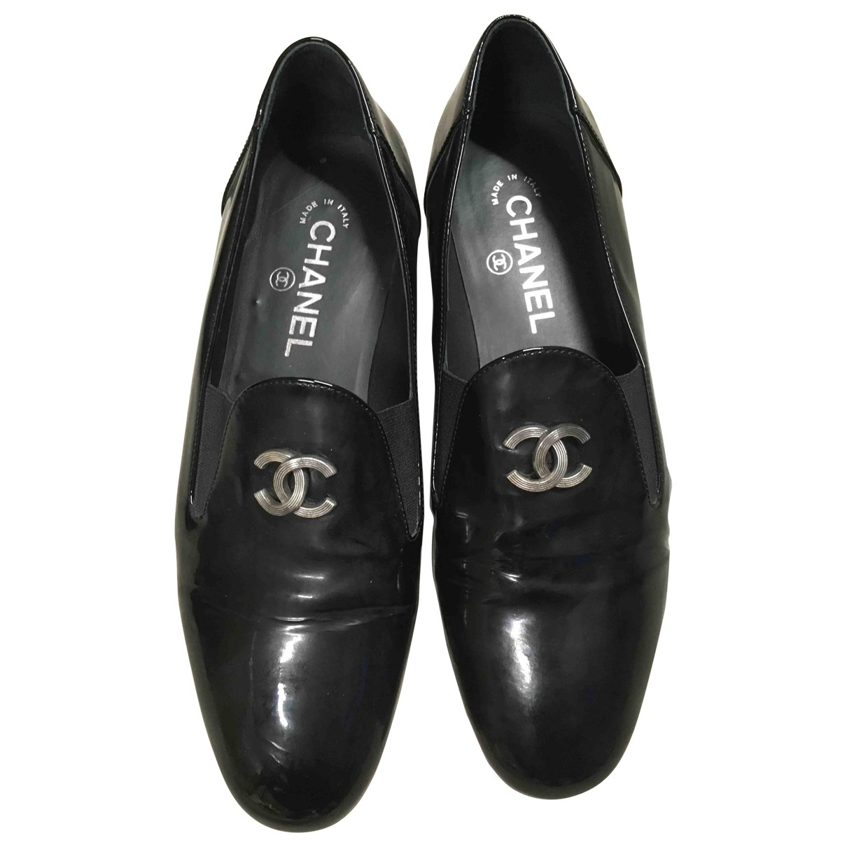 Chanel \N Mokassins in  Schwarz Lackleder