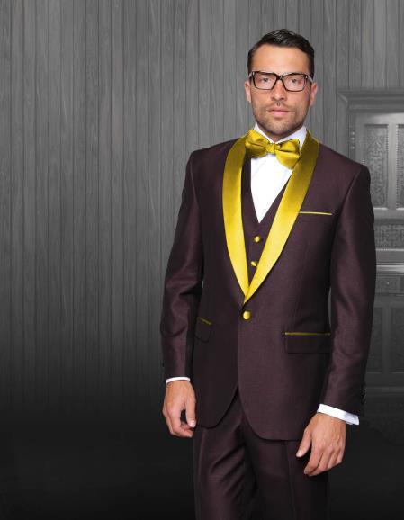 MensLapel  Burgundy Tuxedo Gold