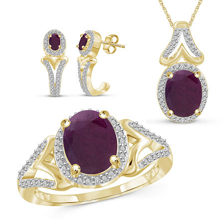 Diamond Accent Lead Glass-Filled Red Ruby 14K Gold Over Silver 3-pc. Jewelry Set, 7 , No Color Family