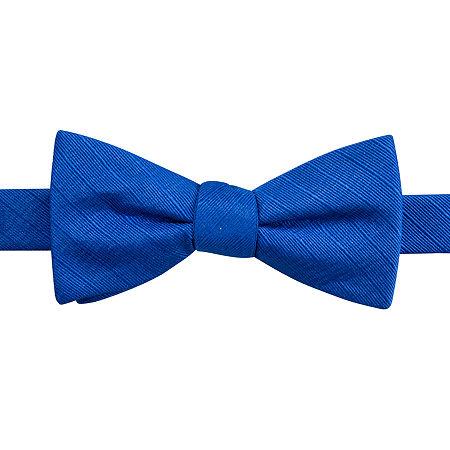 JF J. Ferrar Solid Texture Stripe Pre-Tied Bow Tie, One Size , Blue