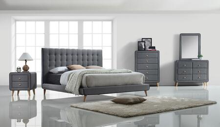 Valda Collection 24517EKSET 5 PC Bedroom Set with King Size Bed + Dresser + Mirror + Chest + Nightstand in Light Grey