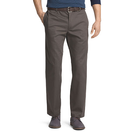 IZOD American Chino Mens Classic Fit Flat Front Pant, 30 30, Green