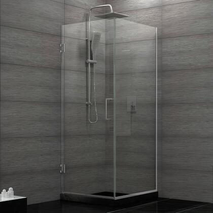 SHEN-24300300F-04 Unidoor Plus 30 3/8 In. W X 30 In. D X 72 In. H Frameless Hinged Shower Enclosure  Clear Glass  Brushed