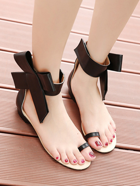Yoins Spring Flat Shoes Bow Sandals