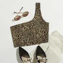 Crop Top mit einer Schulter und Leopard Muster