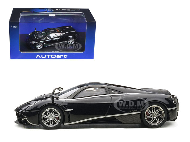 Pagani Huayra Black with Silver Stripes 1/43 Diecast Model Car by Autoart