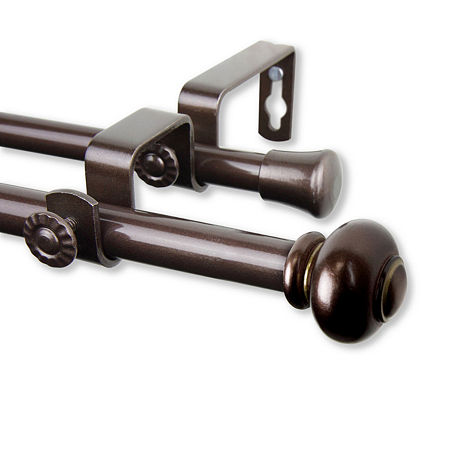 Rod Desyne Yolanda Double Curtain Rod, One Size , Brown