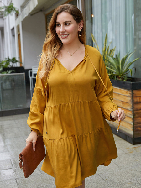 Yoins Plus Size V-neck Long Sleeves Mini Dress