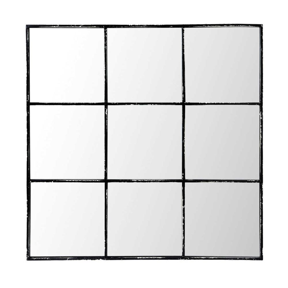 Metallspiegel, 90x90, schwarz