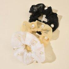 3 Stuecke Haargummis mit Kunstperlen Dekor