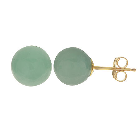 Genuine Jade 14K Yellow Gold Stud Earrings, One Size , No Color Family