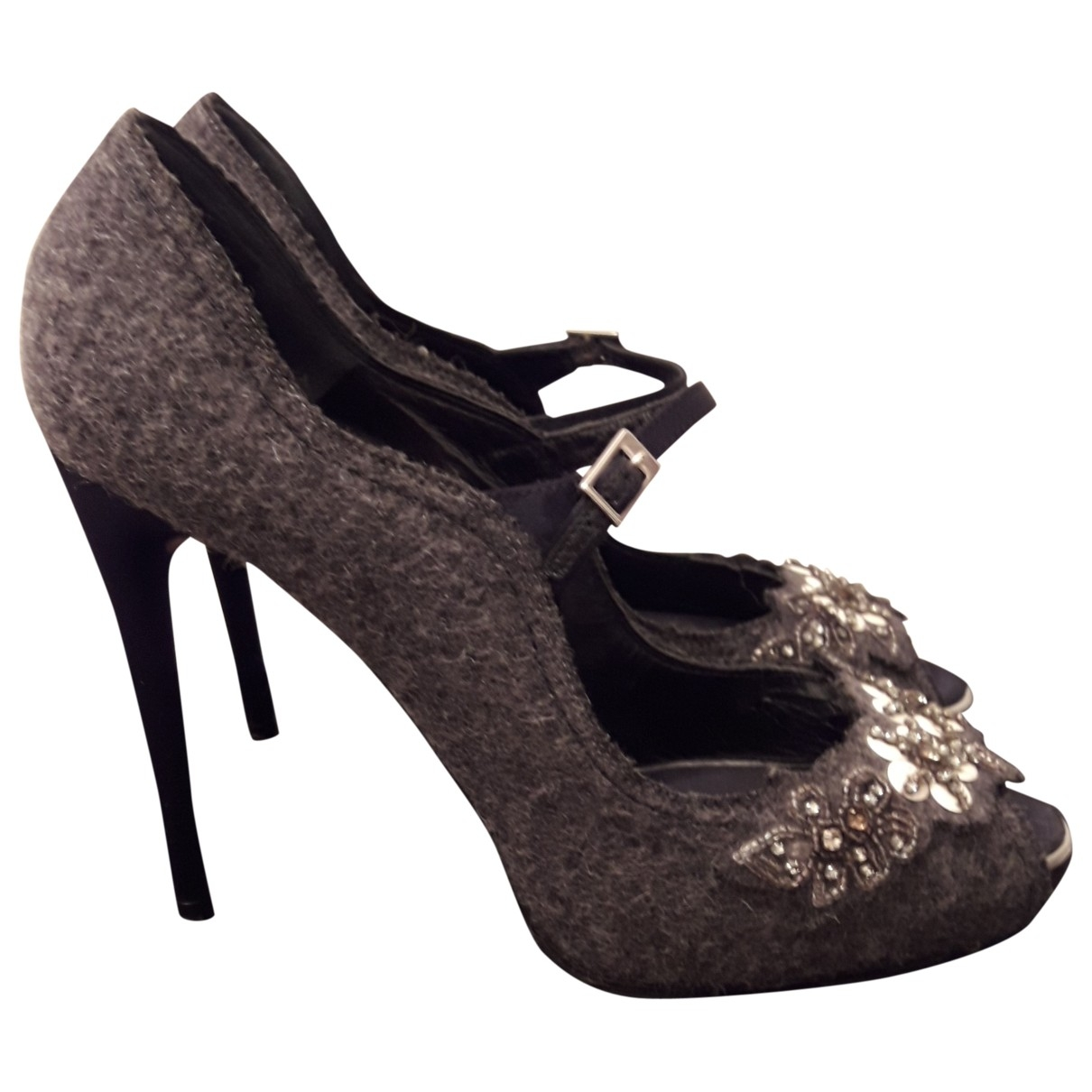 Dsquared2 \N Anthracite Cloth Heels for Women 40 EU